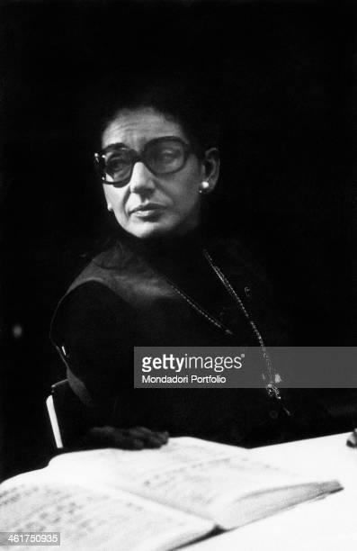 Greekborn American soprano Maria Callas relaxing while rehearsing I vespri siciliani staged at the Teatro Regio in Turin Turin April 1973
