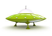 Green, 3-D alien domed spaceship on a white background