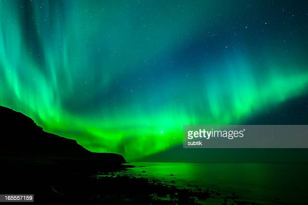 Green and blue Aurora Borealis in Iceland
