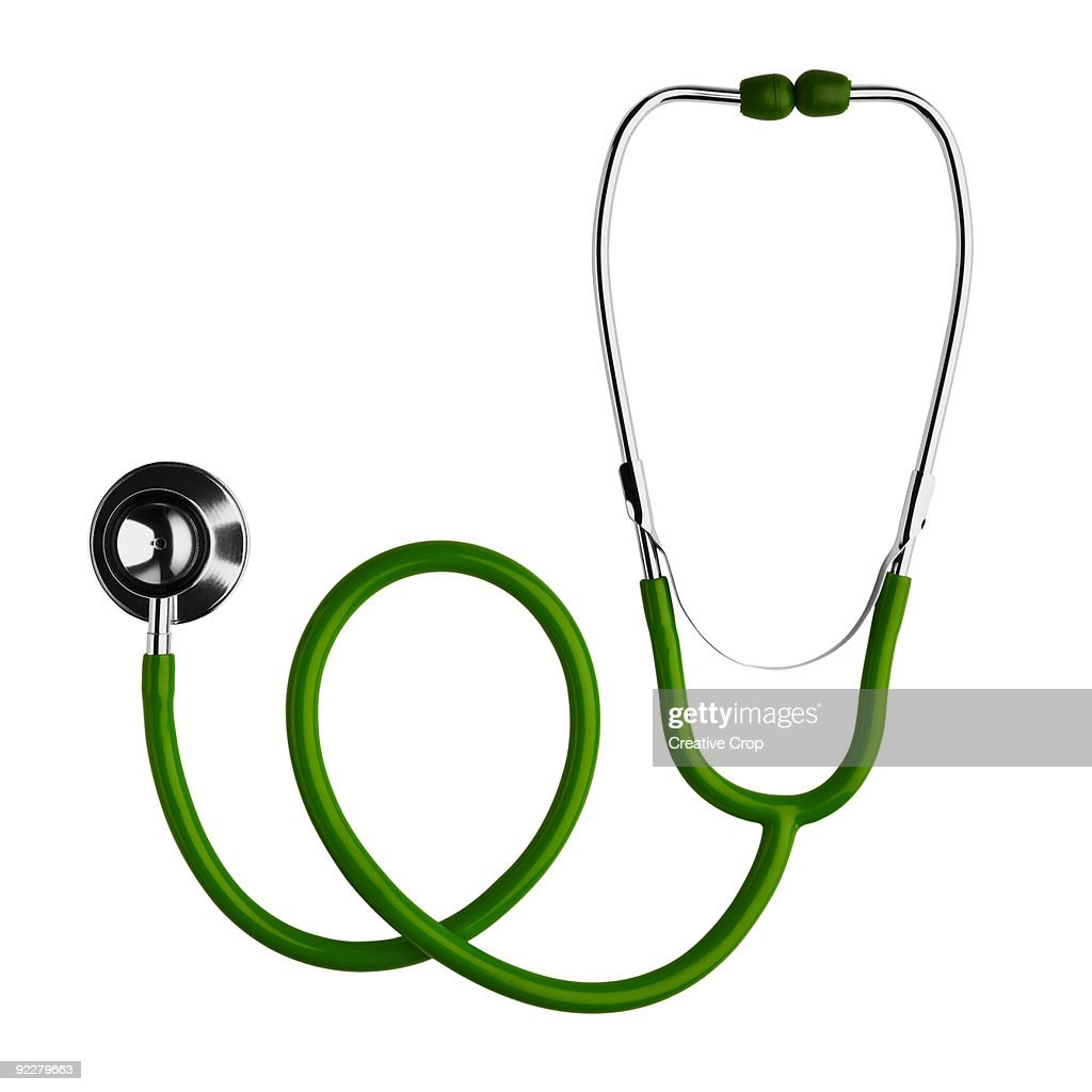 Green and chrome stethoscope : Stock Photo