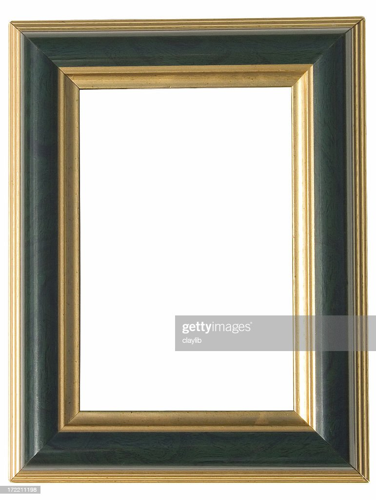 green and gold art frame: with clipping path : Stock Photo