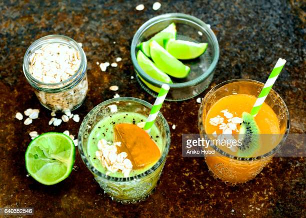 Green and orange smoothies