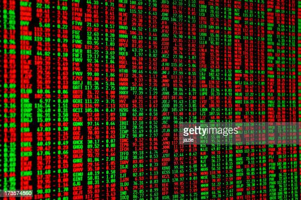 Green and red numbers on the stock market screen