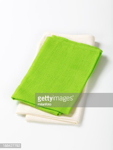 Green and white napkins