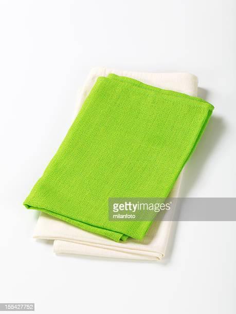 Vert et blanc de serviettes de table