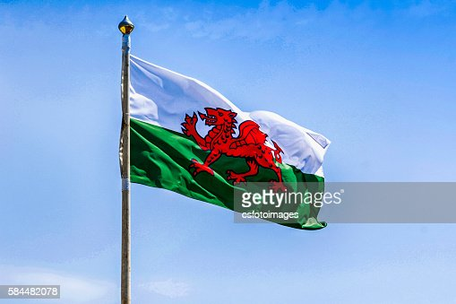 Green and white Welsh flag with the red dragon : Stock Photo