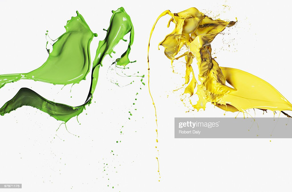 Green and yellow paint : Stock Photo