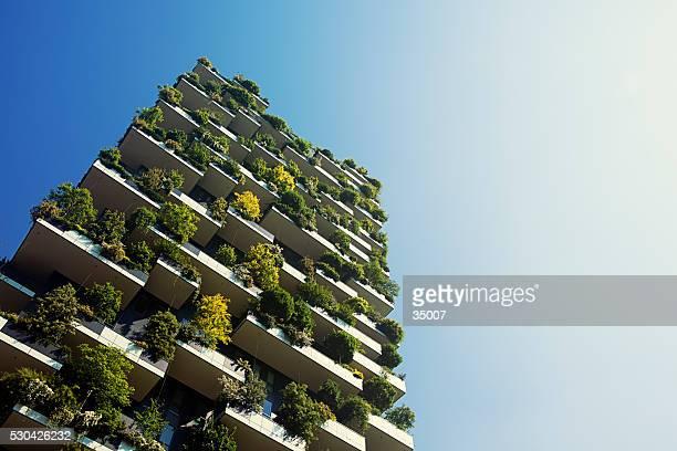 Edificio dell'appartamento verde