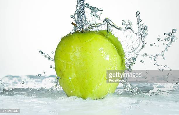Green Apple. Water Splash.