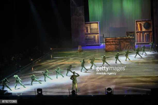 Green Army Men characters perform during the Disney on Ice show at Tauron Arena Krakow Poland on the November 17 2017 Disney on Ice is a show through...