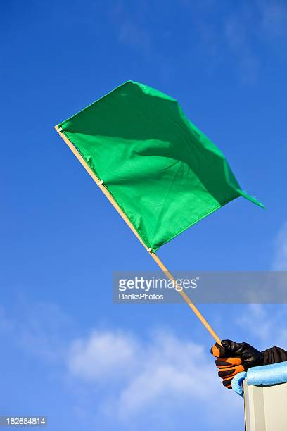 Green Auto Race Flag against a Clear Blue Sky