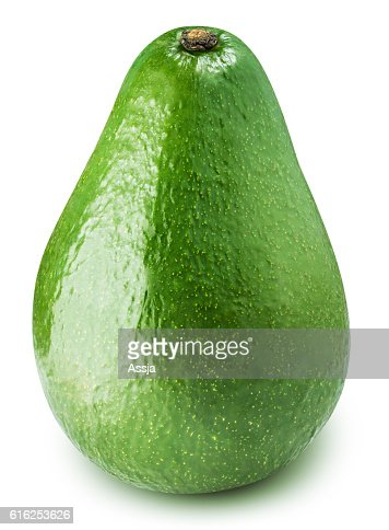 Green avocado isolated on white bsckground : Foto de stock