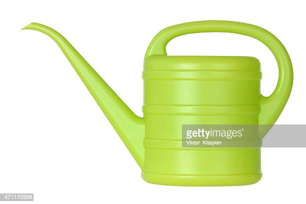 Green bailer or watering can with a handle and a long spout