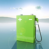 Green Battery with fuel nozzle