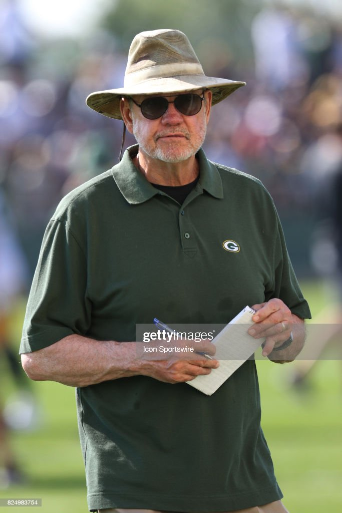 Green Bay Packers broadcaster Larry McCarren looks on during Packers training camp at Ray Nitschke Field on July 31,2017 in Green Bay, WI.