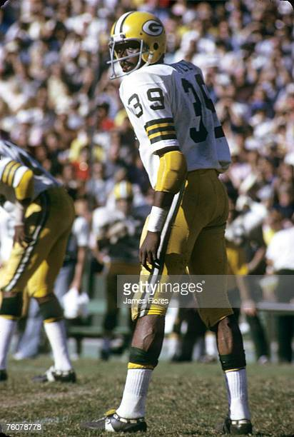 Green Bay Packers defensive back Jim Hall lines up during a 247 loss to the Los Angeles Rams on October 21 at the Los Angeles Memorial Coliseum in...