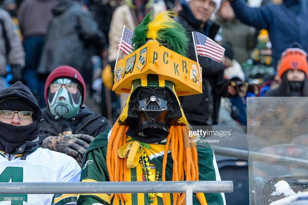 A Green Bay Packers fan during an NFL football game between the Green Bay Packers and the Chicago Bears on December 18, 2016, at Soldier Field in Chicago, IL.