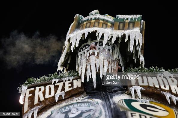 Green Bay Packers fan looks on prior to the game between the Green Bay Packers and the Minnesota Vikings at Lambeau Field on January 3 2016 in Green...