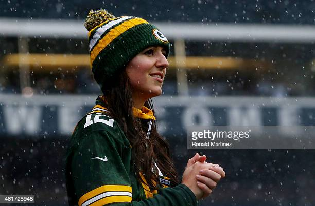 Green Bay Packers fan stands in the rain before the 2015 NFC Championship game against the Seattle Seahawks at CenturyLink Field on January 18 2015...