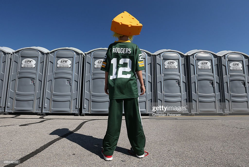 A Green Bay Packers fan waits to use a porta potty before the NFL game against the New York Jets at Lambeau Field on September 14, 2014 in Green Bay, Wisconsin.