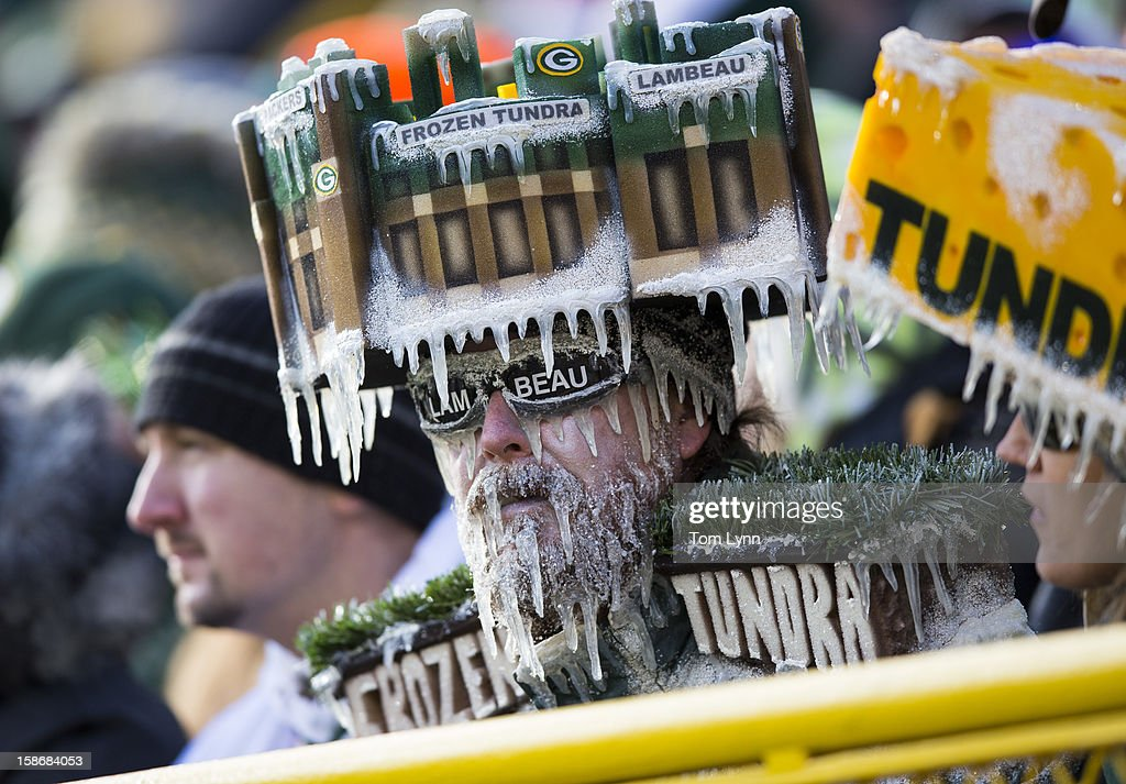 Green Bay Packers fans with a frozen tundra hat on during the Tennessee Titans game at Lambeau Field on December 23, 2012 in Green Bay, Wisconsin.