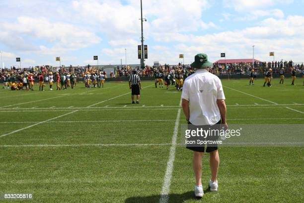 Green Bay Packers General Manager Ted Thompson surveys the field during Green Bay Packers training camp at Ray Nitshke Field on August 16 2107 in...