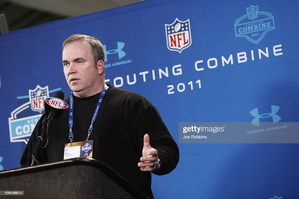 Green Bay Packers head coach Mike McCarthy answers questions during a media session at the 2011 NFL Scouting Combine at Lucas Oil Stadium on February 25, 2011 in Indianapolis, Indiana.
