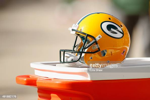 Green Bay Packers helmet sits on the sideline during their game against the San Francisco 49ers at Levi's Stadium on October 4 2015 in Santa Clara...
