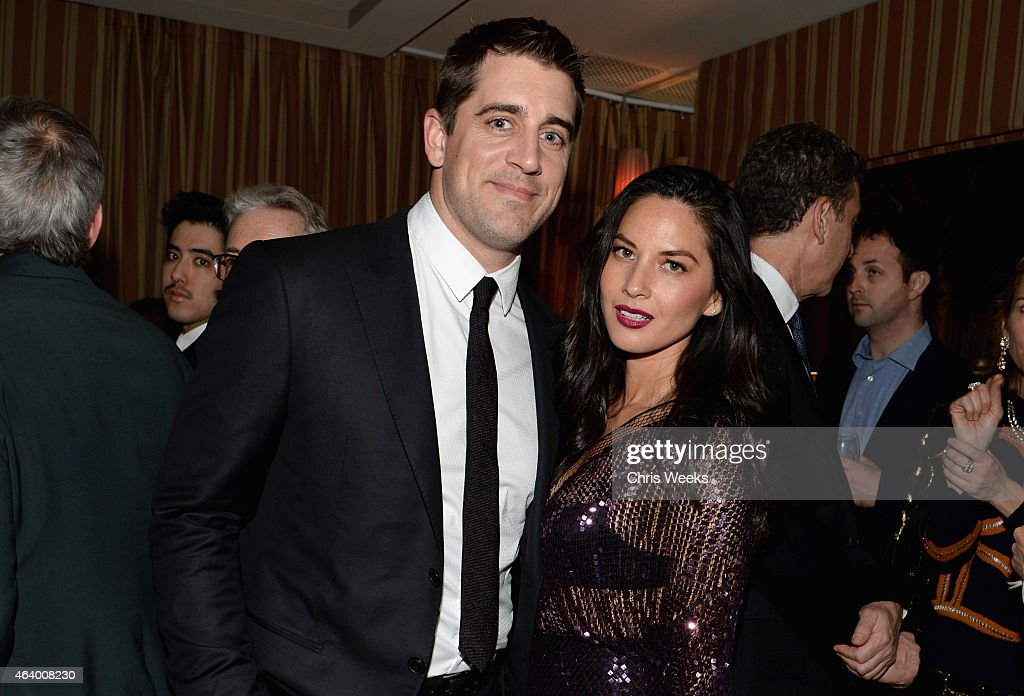 Green Bay Packers quarterback Aaron Rodgers (L) and actress Olivia Munn attend the Grey Goose host Still Alice and Killer Film cocktail reception at Sunset Tower on February 20, 2015 in West Hollywood, California.
