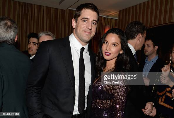 Green Bay Packers quarterback Aaron Rodgers and actress Olivia Munn attend the Grey Goose host Still Alice and Killer Film cocktail reception at...