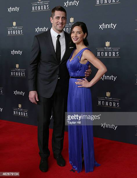 Green Bay Packers quarterback Aaron Rodgers and Olivia Munn attend the 2015 NFL Honors at Phoenix Convention Center on January 31 2015 in Phoenix...