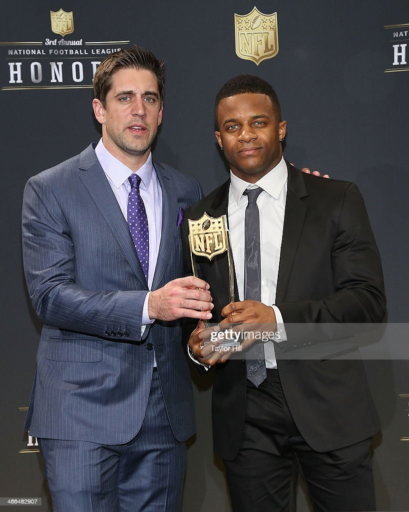 Green Bay Packers quarterback <a gi-track='captionPersonalityLinkClicked' href=/galleries/search?phrase=Aaron+Rodgers+-+American+Football+Quarterback&family=editorial&specificpeople=215257 ng-click='$event.stopPropagation()'>Aaron Rodgers</a> and wide receiver Randall Cobb win the Never Say Never Moment of the Year at the 3rd Annual NFL Honors at Radio City Music Hall on February 1, 2014 in New York City.