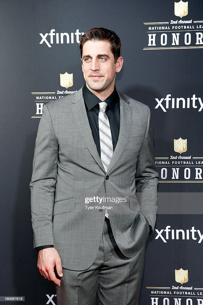 Green Bay Packers quarterback <a gi-track='captionPersonalityLinkClicked' href=/galleries/search?phrase=Aaron+Rodgers+-+American+Football+Quarterback&family=editorial&specificpeople=215257 ng-click='$event.stopPropagation()'>Aaron Rodgers</a> attends the 2nd Annual NFL Honors at the Mahalia Jackson Theater on February 2, 2013 in New Orleans, Louisiana.