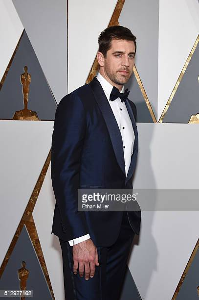Green Bay Packers quarterback Aaron Rodgers attends the 88th Annual Academy Awards at Hollywood Highland Center on February 28 2016 in Hollywood...