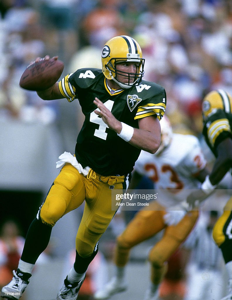 Green Bay Packers quarterback Brett Favre scrambles in 3714 win over the Tampa Bay Bucccaneers in Florida on October 24 1993