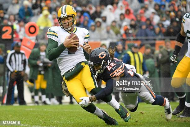 Green Bay Packers quarterback Brett Hundley is sacked by Chicago Bears cornerback Cre'von LeBlanc during an NFL football game between the Green Bay...