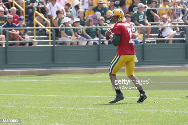 Green Bay Packers quarterback Brett Hundley looks downfield during Green Bay Packers training camp at Ray Nitshke Field on August 16 2107 in Green...