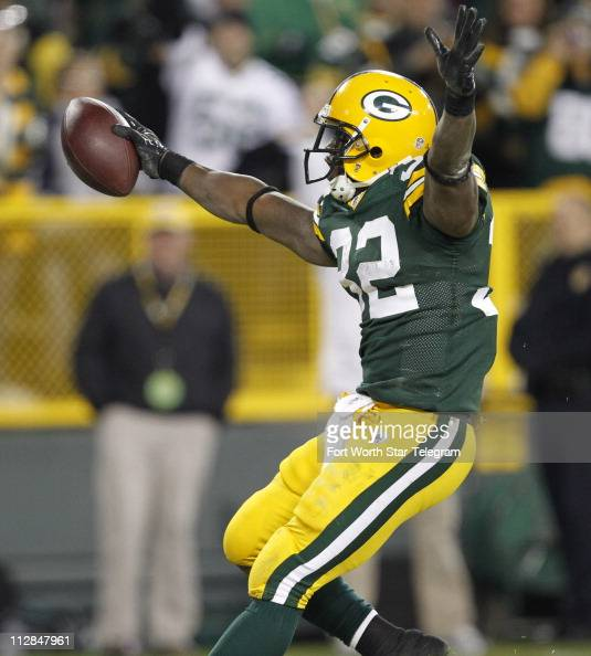 Green Bay Packers running back Brandon Jackson scores in the second quarter against the Dallas Cowboys at Lambeau Field in Green Bay Wisconsin Sunday...