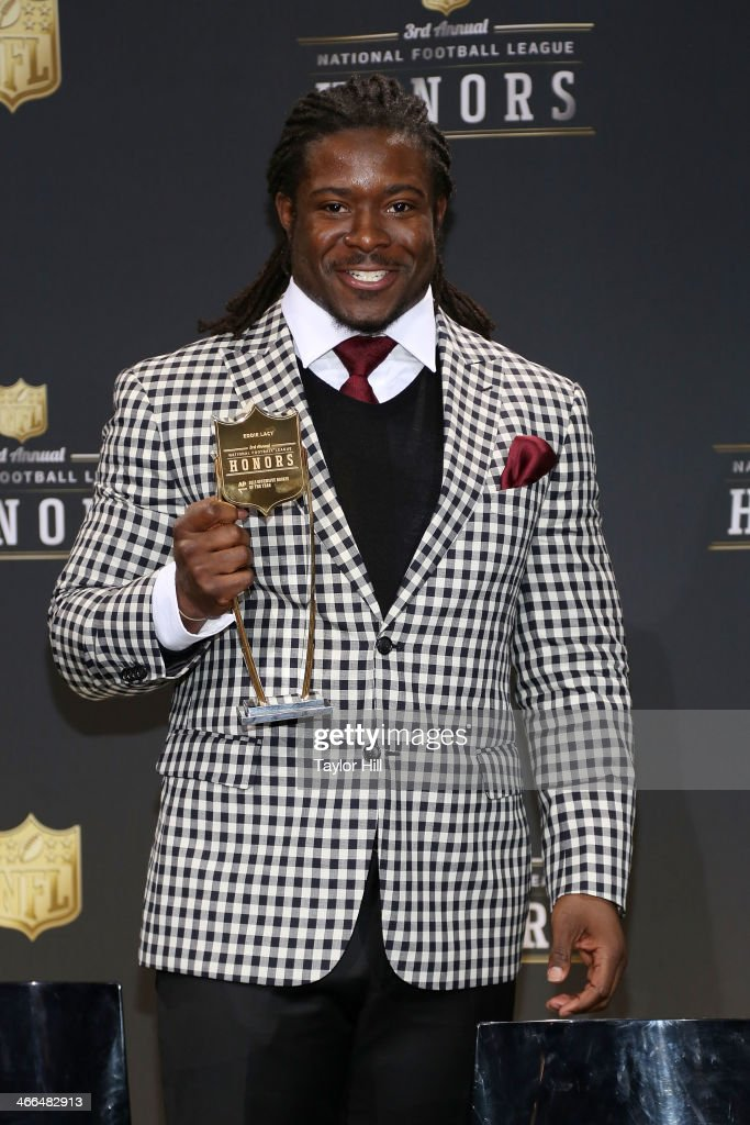 Green Bay Packers running back <a gi-track='captionPersonalityLinkClicked' href=/galleries/search?phrase=Eddie+Lacy&family=editorial&specificpeople=6902550 ng-click='$event.stopPropagation()'>Eddie Lacy</a> wins Offensive Rookie of the Year at the 3rd Annual NFL Honors at Radio City Music Hall on February 1, 2014 in New York City.