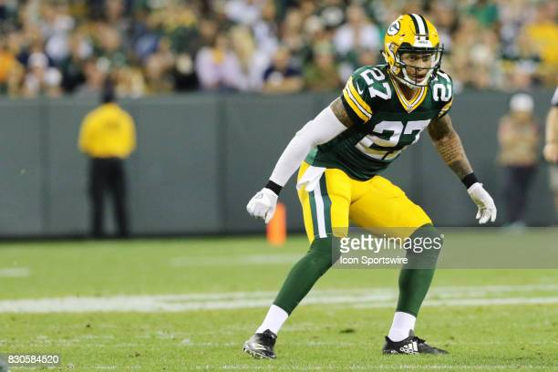 Green Bay Packers safety Josh Jones watches a play develop during a football game between the Green Bay Packers and the Philadelphia Eagles at...