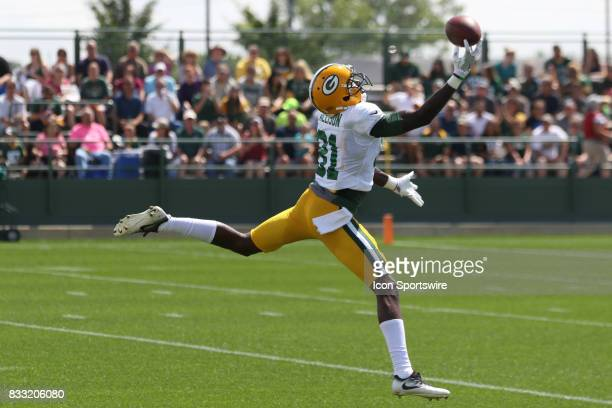 Green Bay Packers wide receiver Geronimo Allison reels in a one handed catch during Green Bay Packers training camp at Ray Nitshke Field on August 16...