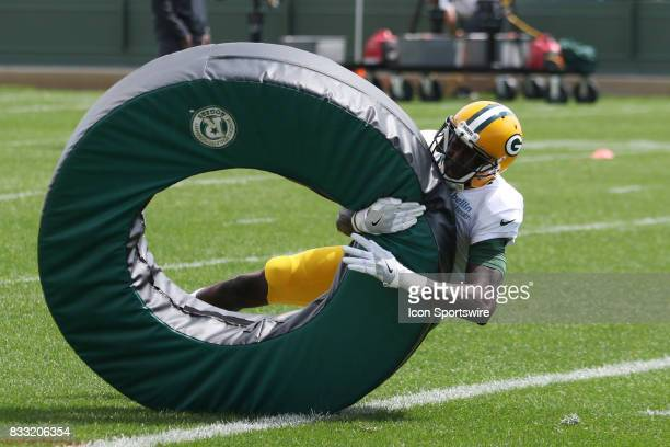 Green Bay Packers wide receiver Geronimo Allison runs a tackling drill during Green Bay Packers training camp at Ray Nitshke Field on August 16 2107...