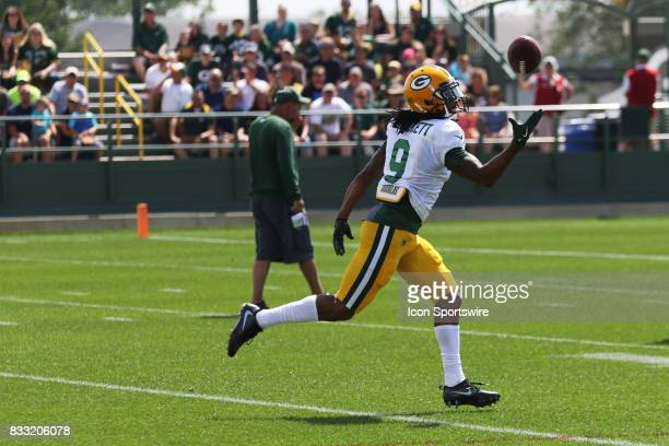 Green Bay Packers wide receiver Montay Crockett makes a one handed catch during Green Bay Packers training camp at Ray Nitshke Field on August 16...