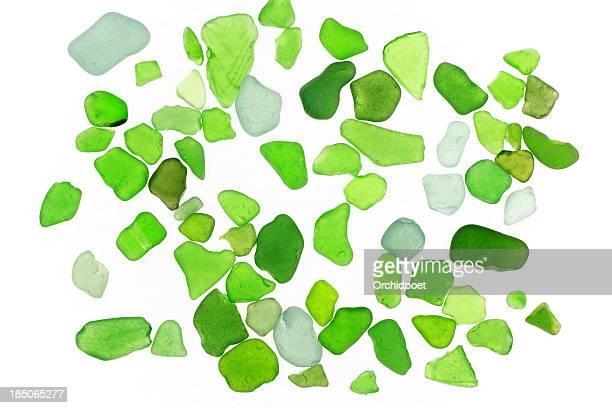 グリーンのビーチグラスの石