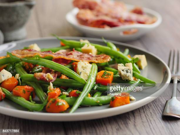 Green beans and roasted butternut squash salad with bacon