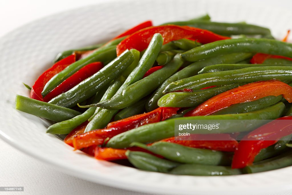 Green Beans and Roasted Red Peppers : Stock Photo