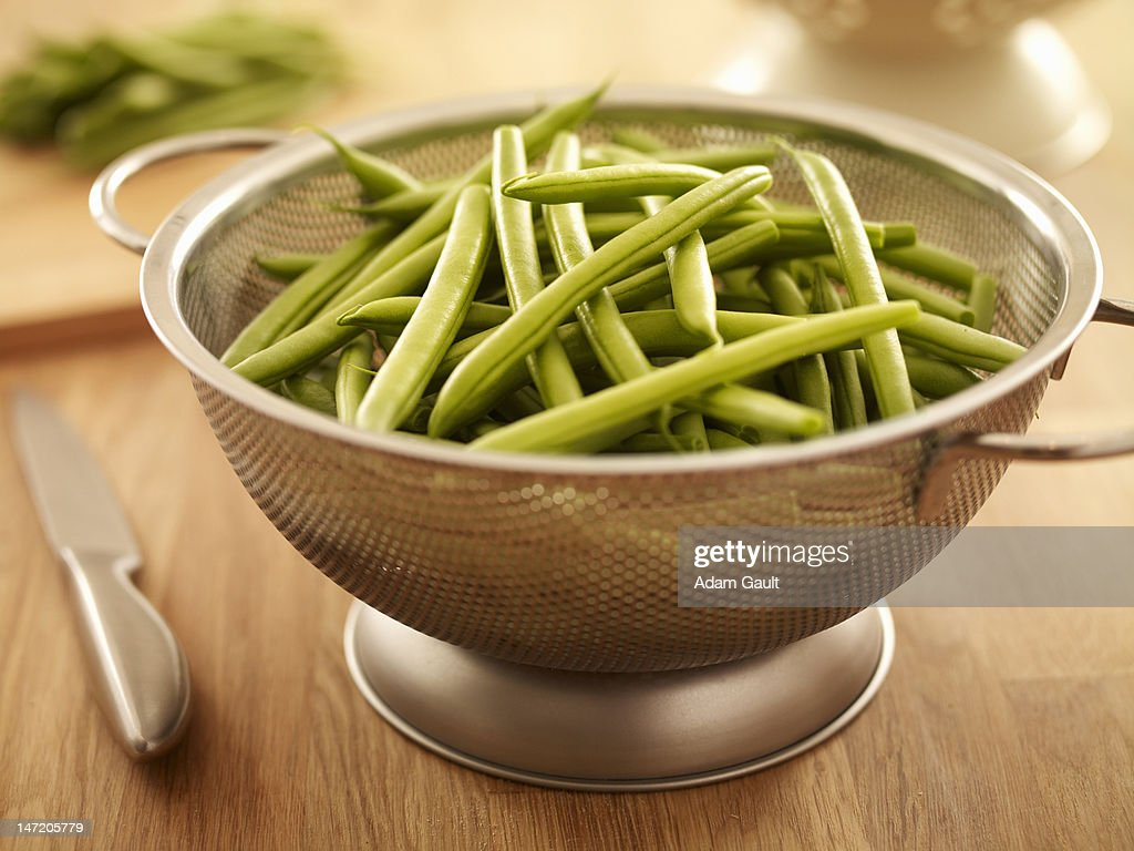 Green beans in colander : Stock Photo
