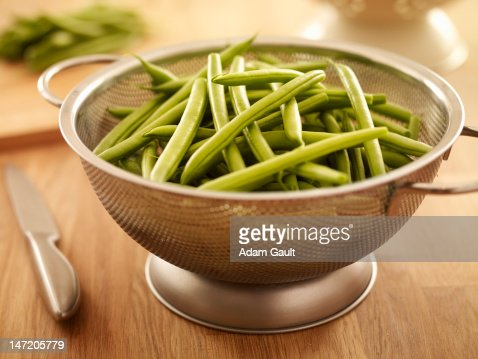 Green beans in colander