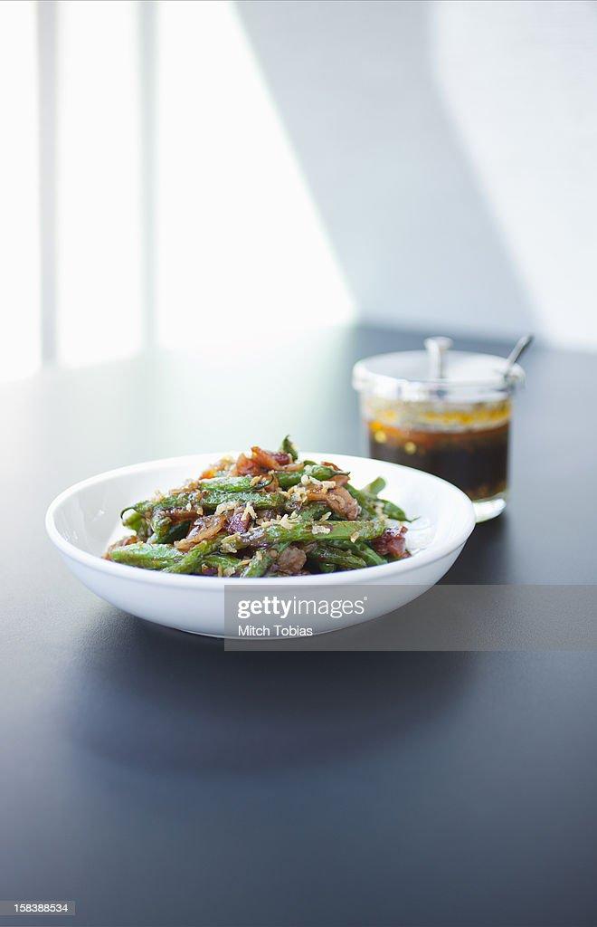 Green Beans with carmelized ginger, prhik king. : Stock Photo