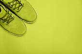 Green boots on green background. Copyspace, flat lay. Traveling boots, minimalist style. green photofilter